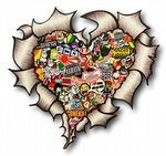 Ripped Torn Metal HEART With Colour JDM Stickerbomb Style Motif External Car Sticker 105x100mm